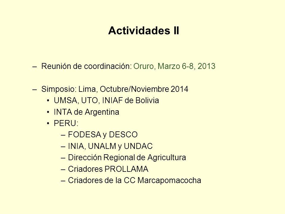 Actividades II Reunión de coordinación: Oruro, Marzo 6-8, 2013