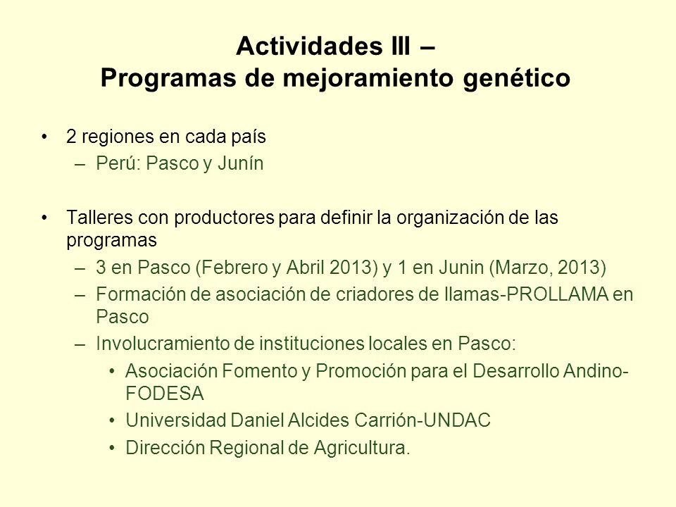 Actividades III – Programas de mejoramiento genético