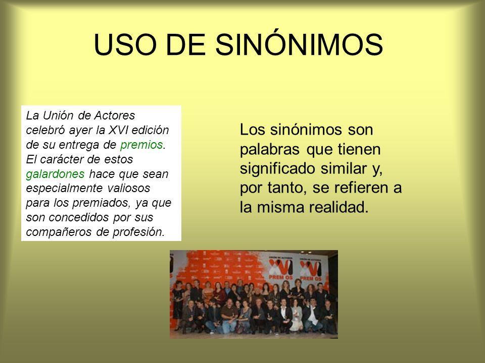 USO DE SINÓNIMOS