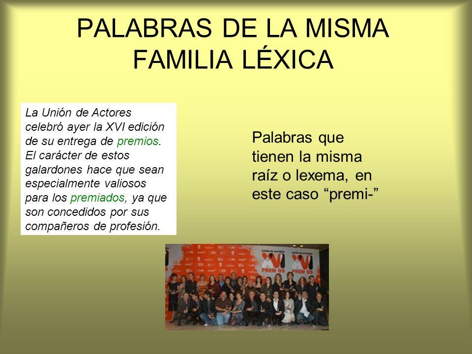 PALABRAS DE LA MISMA FAMILIA LÉXICA