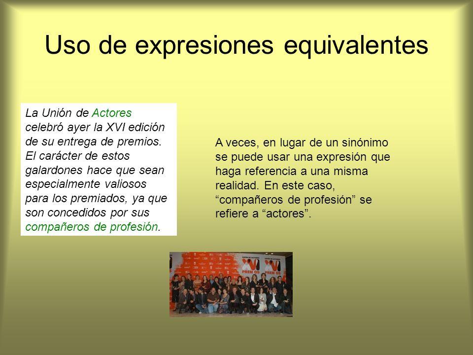 Uso de expresiones equivalentes