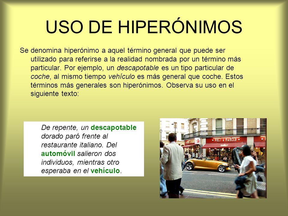 USO DE HIPERÓNIMOS