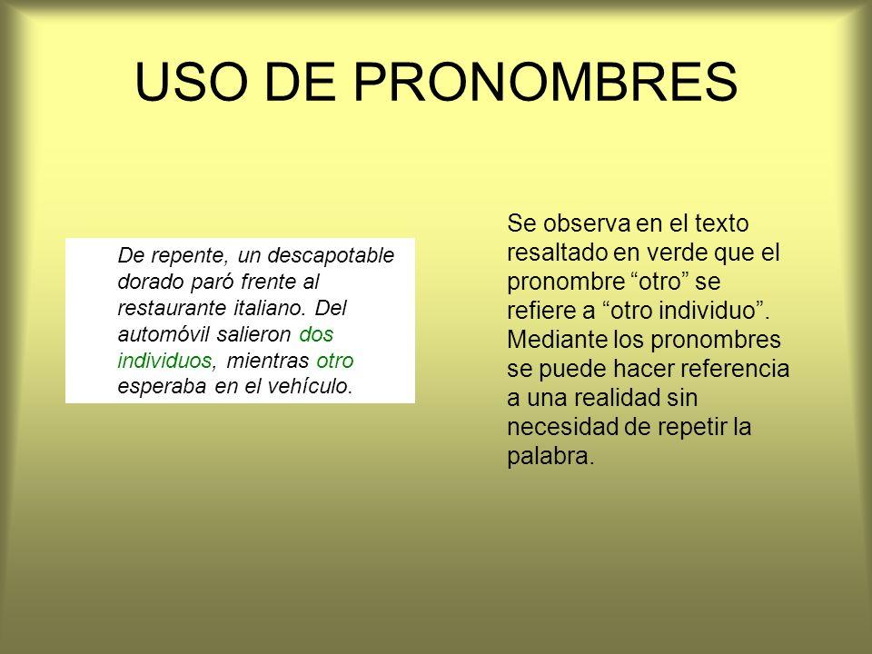 USO DE PRONOMBRES