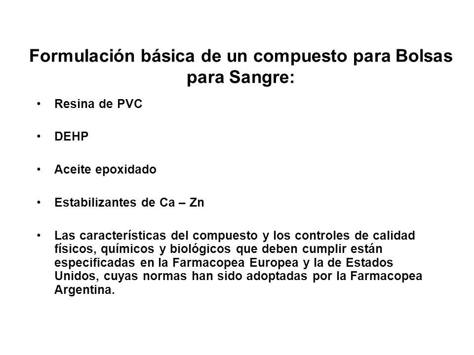 Formulación básica de un compuesto para Bolsas para Sangre: