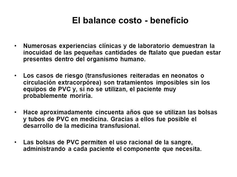 El balance costo - beneficio