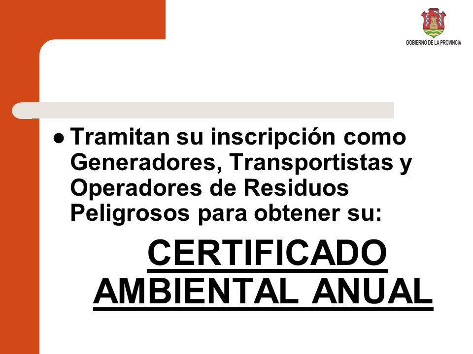CERTIFICADO AMBIENTAL ANUAL