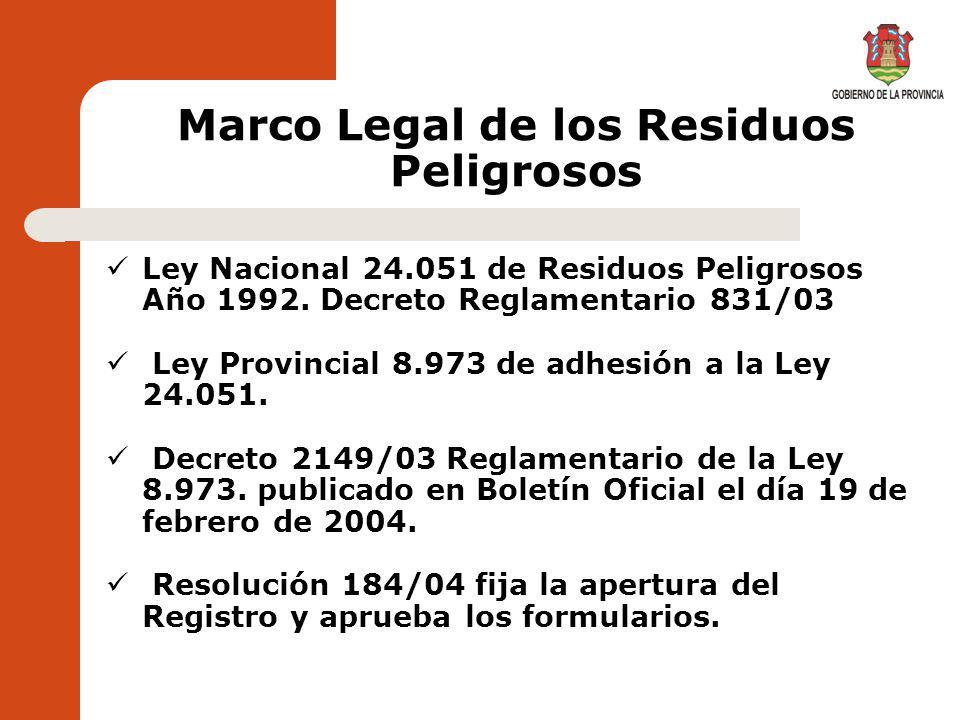 Marco Legal de los Residuos Peligrosos