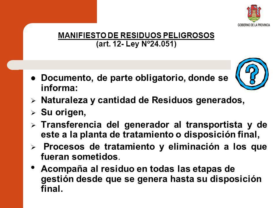 MANIFIESTO DE RESIDUOS PELIGROSOS (art. 12- Ley Nº24.051)
