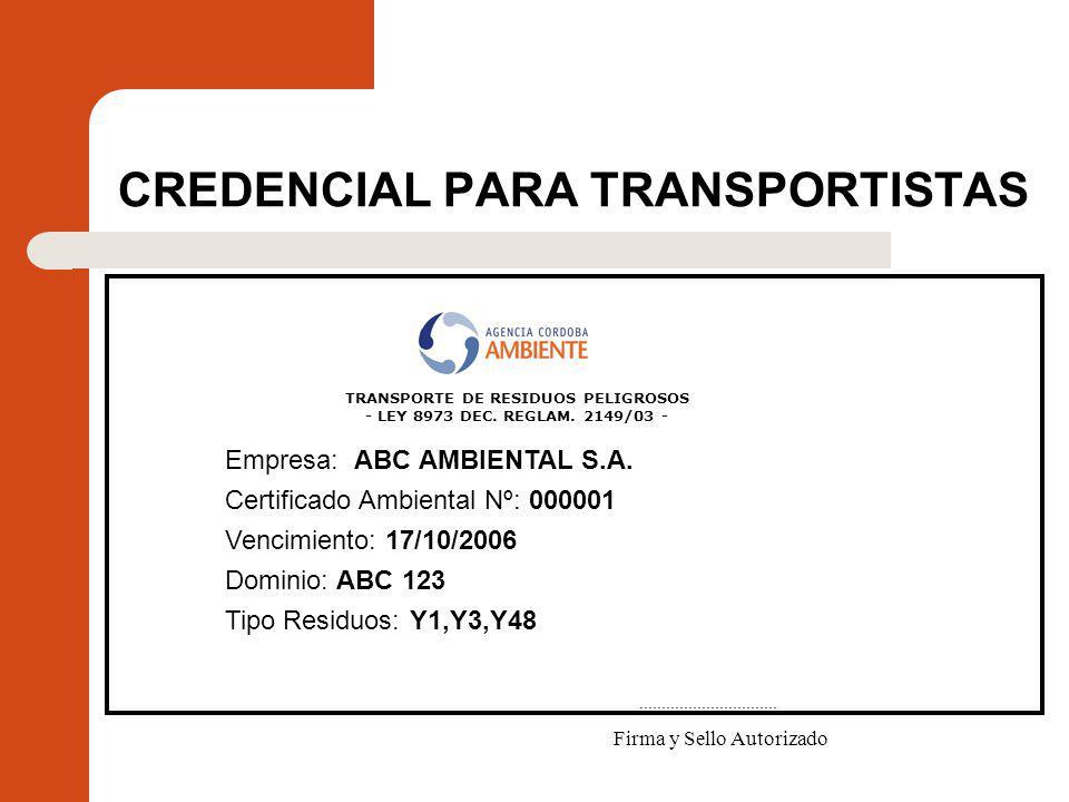CREDENCIAL PARA TRANSPORTISTAS
