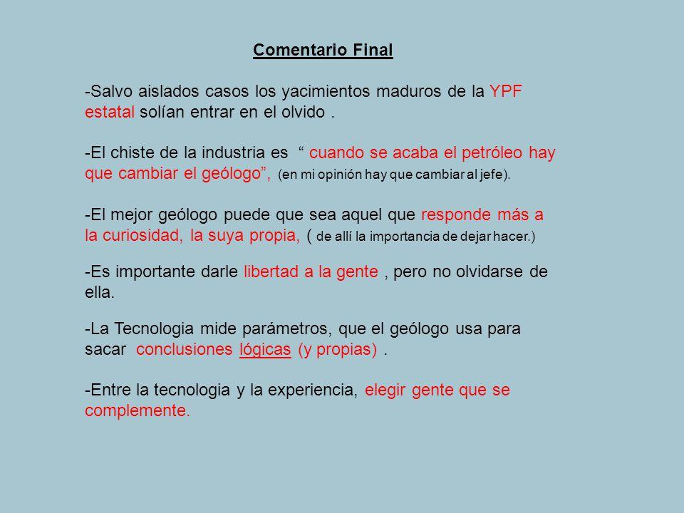 Comentario Final -Salvo aislados casos los yacimientos maduros de la YPF estatal solían entrar en el olvido .