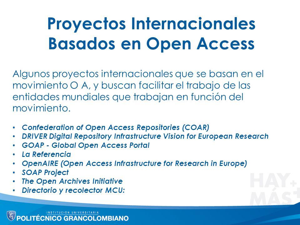 Proyectos Internacionales Basados en Open Access