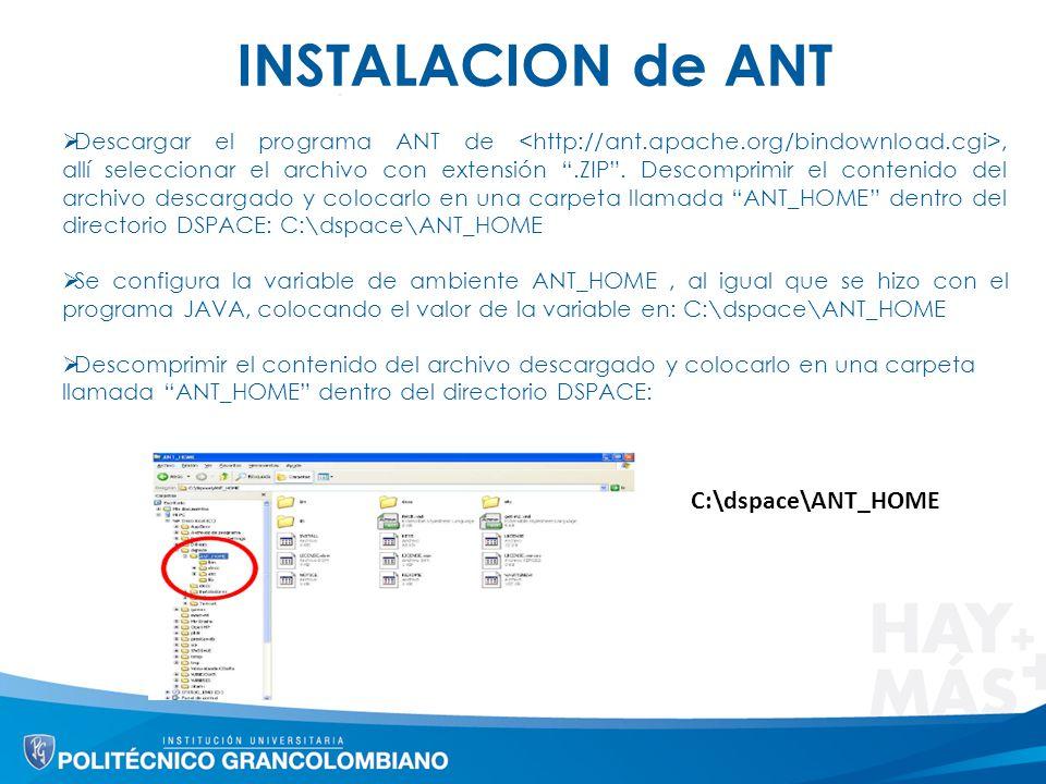 INSTALACION de ANT C:\dspace\ANT_HOME