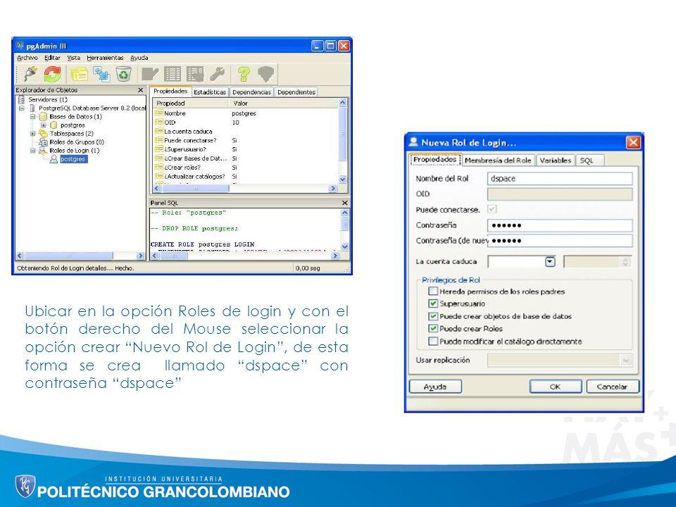 Ubicar en la opción Roles de login y con el botón derecho del Mouse seleccionar la opción crear Nuevo Rol de Login , de esta forma se crea llamado dspace con contraseña dspace