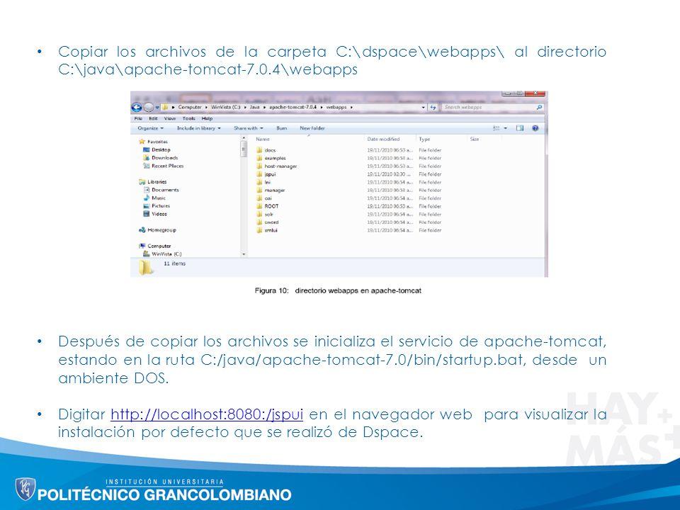 Copiar los archivos de la carpeta C:\dspace\webapps\ al directorio C:\java\apache-tomcat-7.0.4\webapps