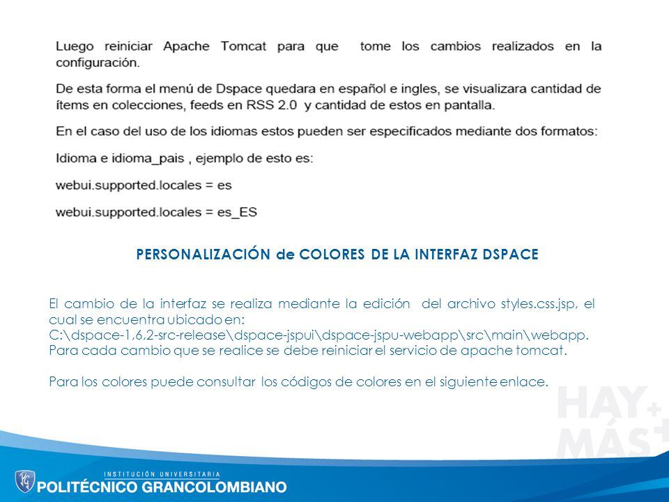 PERSONALIZACIÓN de COLORES DE LA INTERFAZ DSPACE