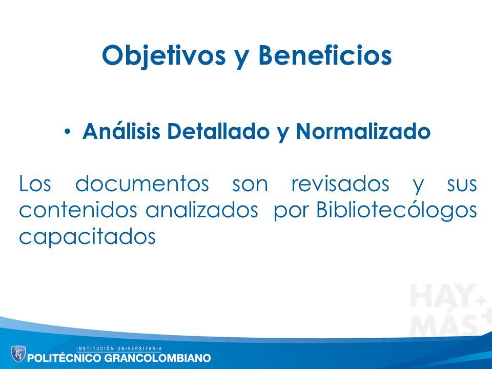 Objetivos y Beneficios Análisis Detallado y Normalizado