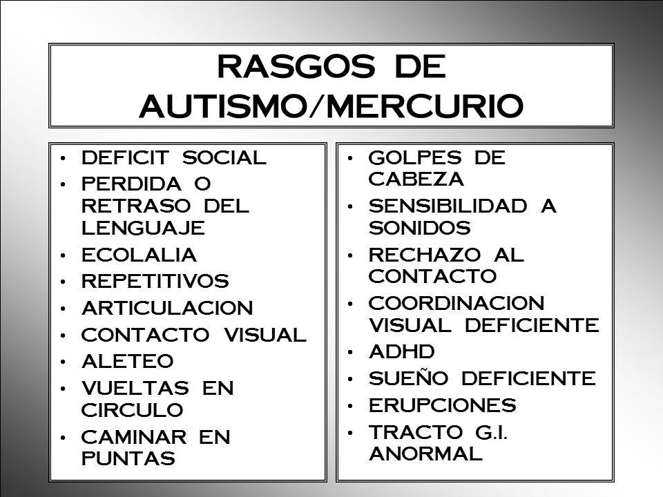 RASGOS DE AUTISMO/MERCURIO