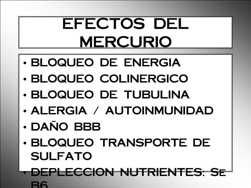 EFECTOS DEL MERCURIO BLOQUEO DE ENERGIA BLOQUEO COLINERGICO