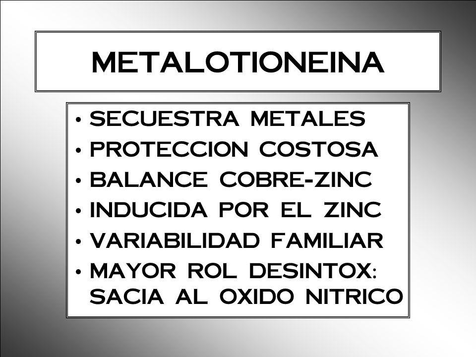 METALOTIONEINA SECUESTRA METALES PROTECCION COSTOSA BALANCE COBRE-ZINC