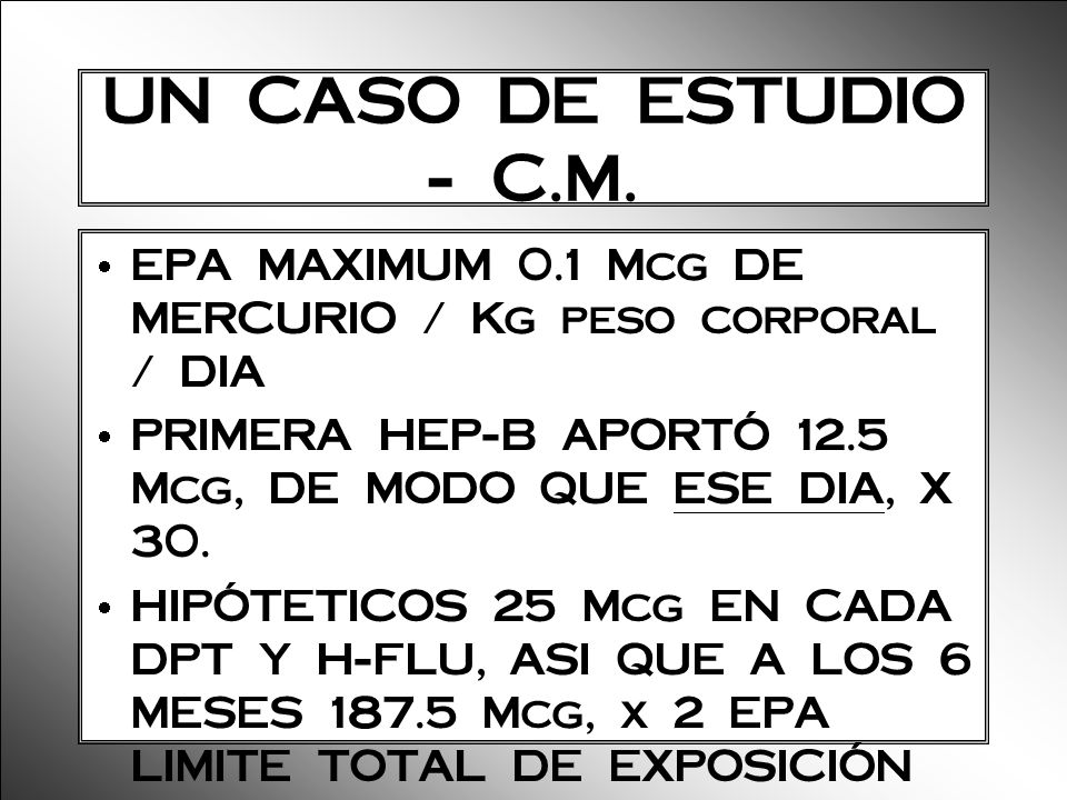 UN CASO DE ESTUDIO - C.M. EPA MAXIMUM 0.1 Mcg DE MERCURIO / Kg peso corporal / DIA. PRIMERA HEP-B APORTÓ 12.5 Mcg, DE MODO QUE ESE DIA, X 30.