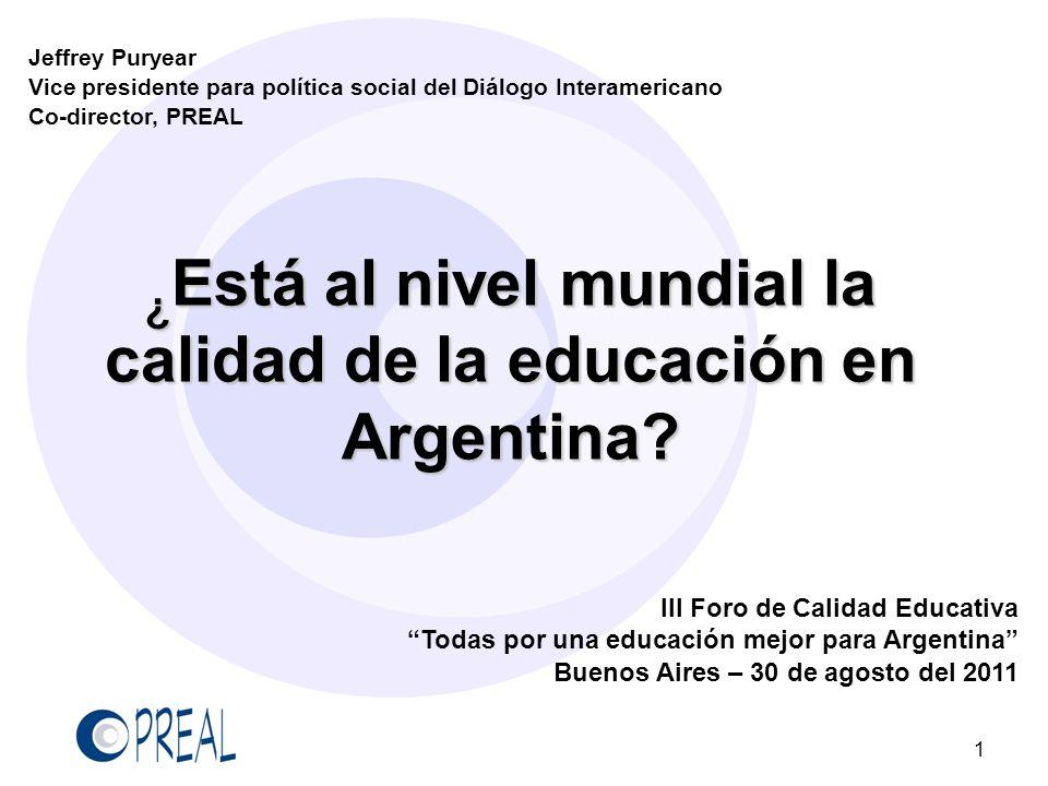 ¿Está al nivel mundial la calidad de la educación en Argentina