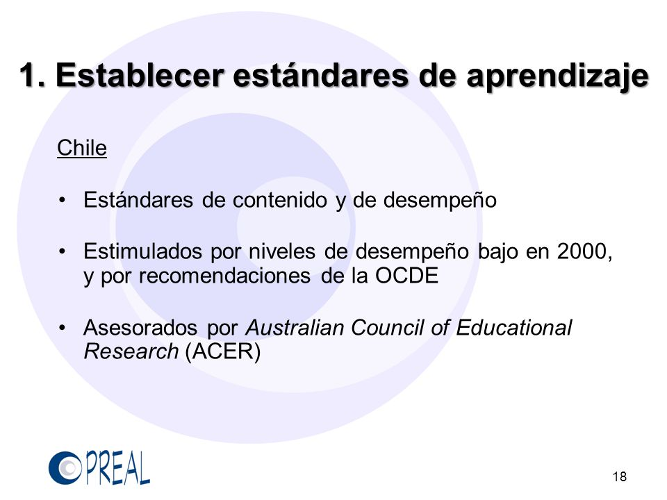 1. Establecer estándares de aprendizaje