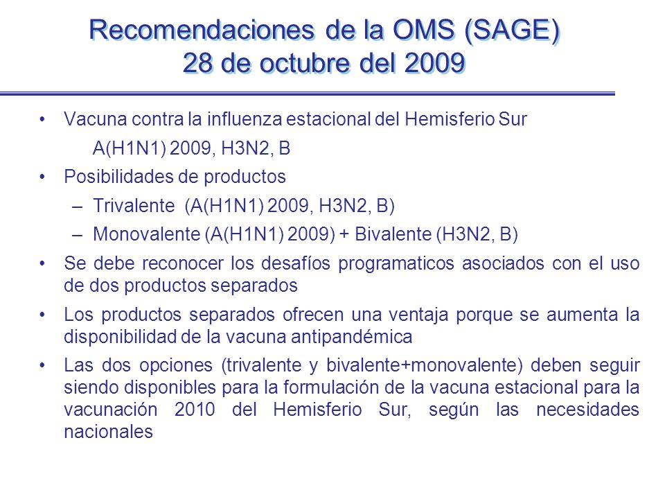 Recomendaciones de la OMS (SAGE) 28 de octubre del 2009