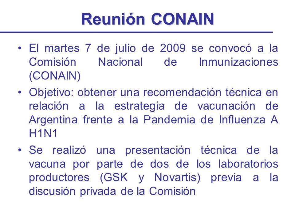 Reunión CONAIN El martes 7 de julio de 2009 se convocó a la Comisión Nacional de Inmunizaciones (CONAIN)