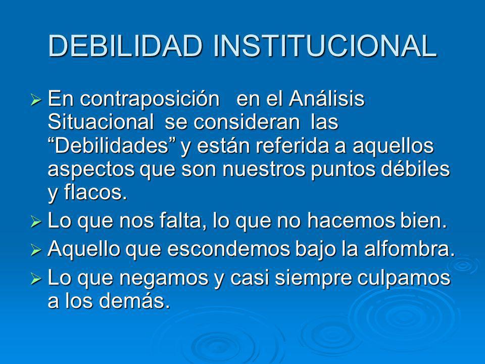 DEBILIDAD INSTITUCIONAL