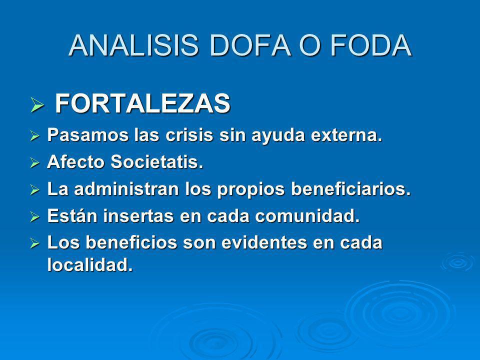 ANALISIS DOFA O FODA FORTALEZAS Pasamos las crisis sin ayuda externa.