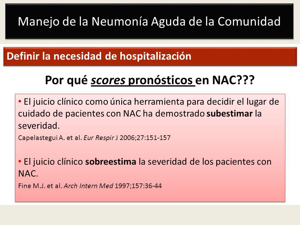 Por qué scores pronósticos en NAC