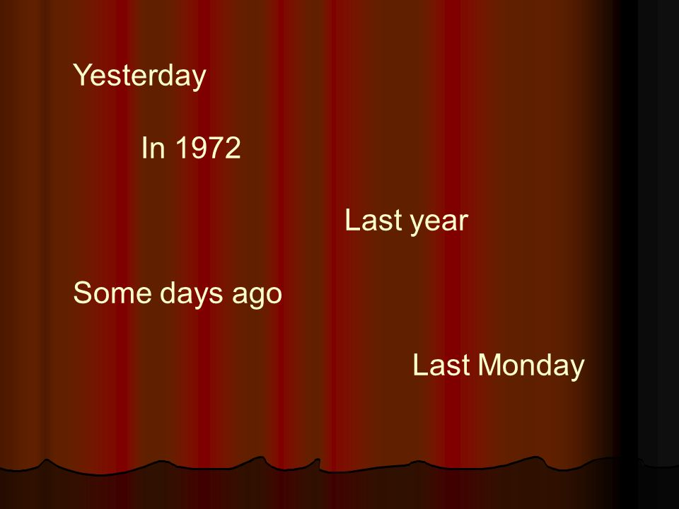 Yesterday In 1972 Last year Some days ago Last Monday