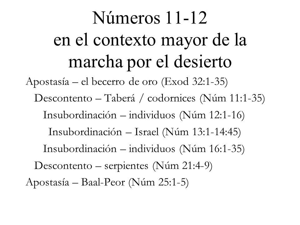 Números 11-12 en el contexto mayor de la marcha por el desierto