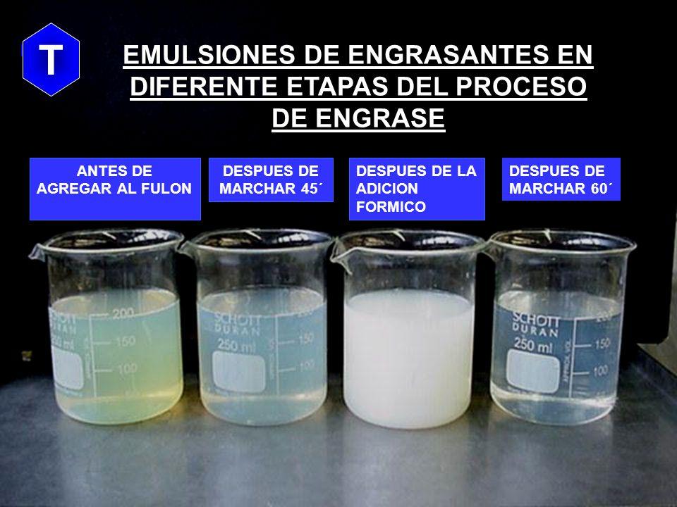 T EMULSIONES DE ENGRASANTES EN DIFERENTE ETAPAS DEL PROCESO DE ENGRASE. T. ANTES DE AGREGAR AL FULON.