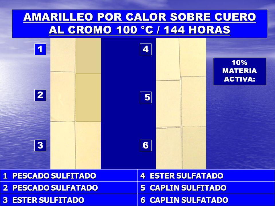 AMARILLEO POR CALOR SOBRE CUERO AL CROMO 100 °C / 144 HORAS