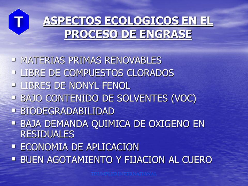 ASPECTOS ECOLOGICOS EN EL PROCESO DE ENGRASE