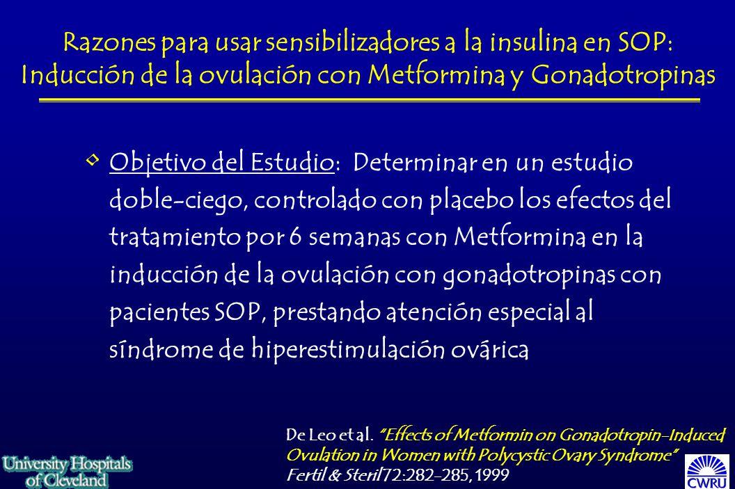 Razones para usar sensibilizadores a la insulina en SOP: Inducción de la ovulación con Metformina y Gonadotropinas