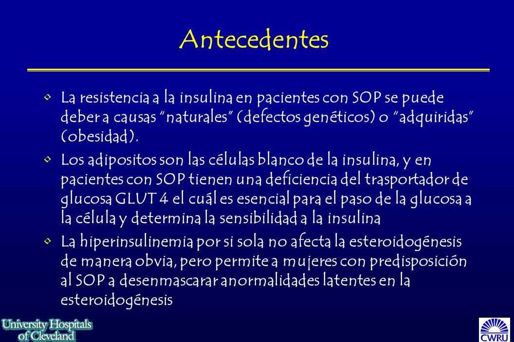 Antecedentes La resistencia a la insulina en pacientes con SOP se puede deber a causas naturales (defectos genéticos) o adquiridas (obesidad).