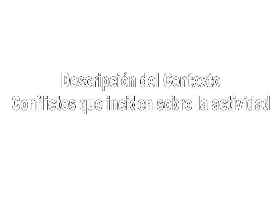 Descripción del Contexto Conflictos que inciden sobre la actividad