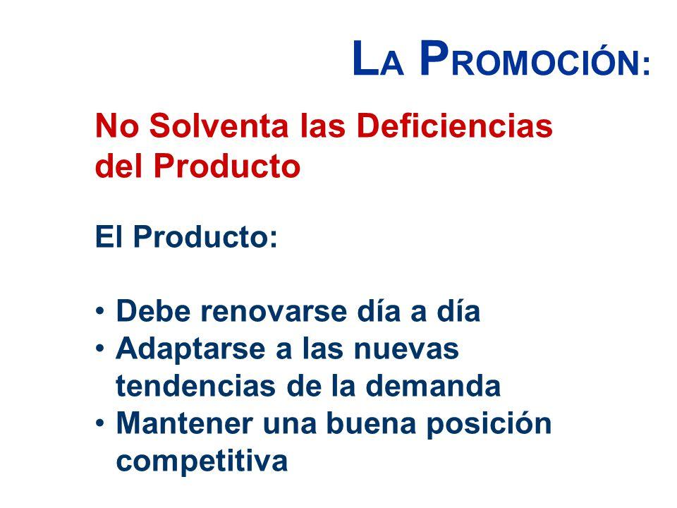 LA PROMOCIÓN: No Solventa las Deficiencias del Producto El Producto: