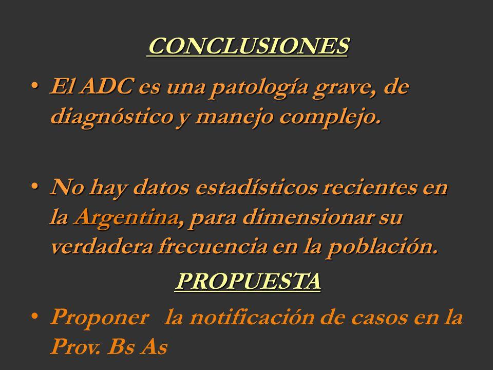 CONCLUSIONES El ADC es una patología grave, de diagnóstico y manejo complejo.