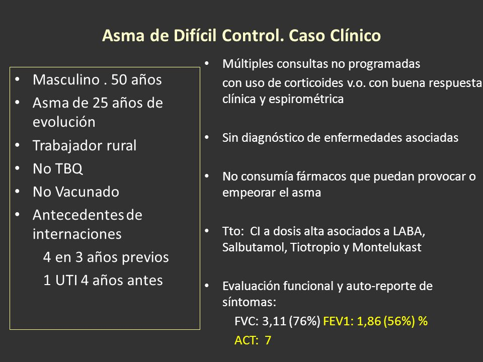 Asma de Difícil Control. Caso Clínico