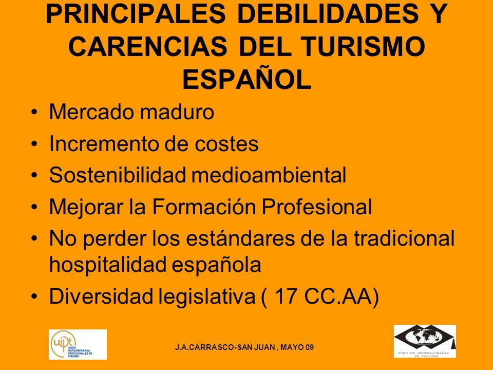 PRINCIPALES DEBILIDADES Y CARENCIAS DEL TURISMO ESPAÑOL