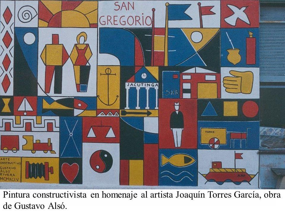 Pintura constructivista en homenaje al artista Joaquín Torres García, obra de Gustavo Alsó.