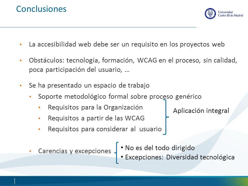 Conclusiones La accesibilidad web debe ser un requisito en los proyectos web.