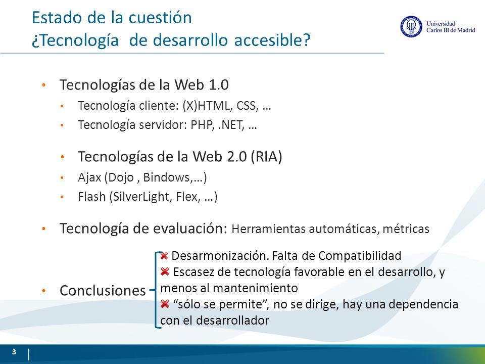 Estado de la cuestión ¿Tecnología de desarrollo accesible