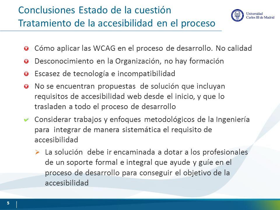 Conclusiones Estado de la cuestión Tratamiento de la accesibilidad en el proceso