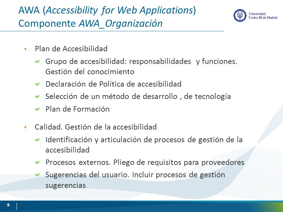 AWA (Accessibility for Web Applications) Componente AWA_Organización