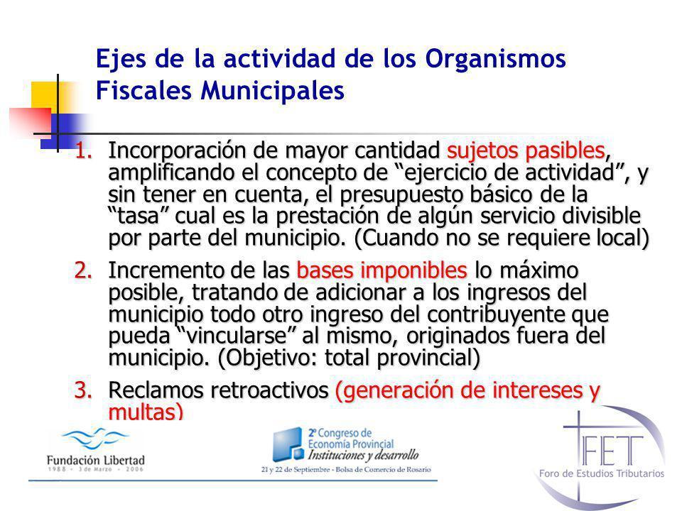 Ejes de la actividad de los Organismos Fiscales Municipales