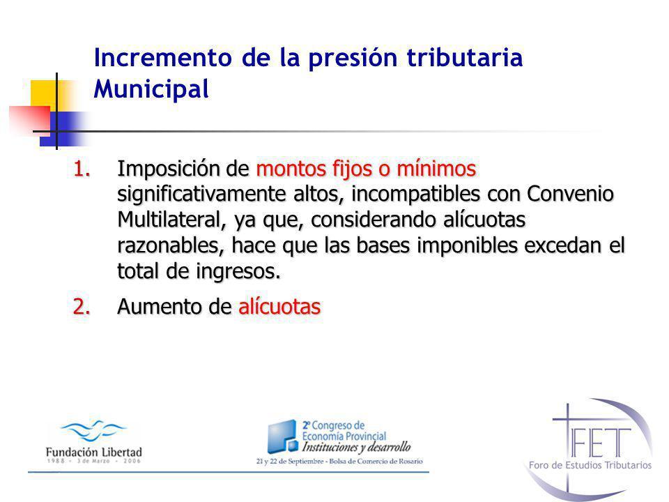 Incremento de la presión tributaria Municipal